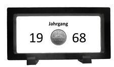 50. Geburtstag – 1 DM von 1968 im Schweberahmen – Echte Münze  –  D M  NOSTALGIE
