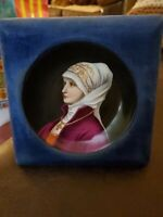 EARLY 19 TH CENTURY GERMAN WOMAN PLATE,WITH PERMEANT BLUE VELVET FRAME,EXCELLENT