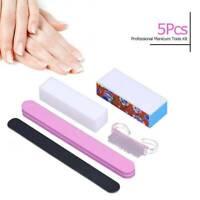 5x Nail File Double Sided Nail Care Art Buffer Soft Sponge Manicure Tool Kit Set