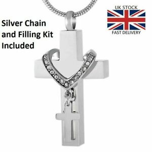 Double Cross Cremation Christian Urn Pendant Ashes Necklace Funeral Memorial UK.