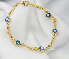 Nazar Evil Eye 18 KGP Gold Armband Magisches Blaues Auge Böser Blick Goldplated