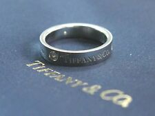 Tiffany & Co Platinum Diamond Band Ring .10Ct 4mm Size 6