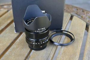 Fujifilm XF 14mm f/2.8 R Lens in box with 2 hoods