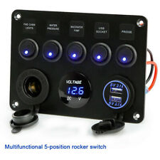 5 Gang Switch Panel 12V/24V Interior Controls Car Boat Marine LED Rocker Breaker
