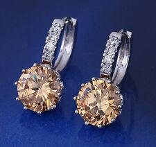 Luxus Ohrringe Creolen Zirkonia weiß 750er Weißgold 18K Silber Champanger Neu