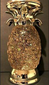 Bath & Body Works Gold Glitter PINEAPPLE Pedestal Water Globe Jar Candle Holder
