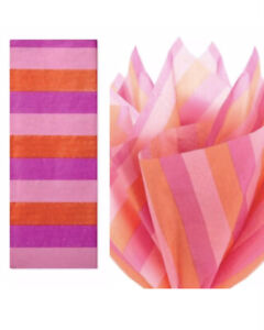 3- Hallmark Warm Stripe Tissue Paper 6 Sheets Hot Pink Light Pink & Orange Lot 3