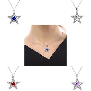 Halskette Kette mit Anhänger Stern Silber Strass