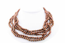 """100"""" Inch Strand of 5.0-6.0mm Genuine Chocolate Brown Pearl Necklace"""