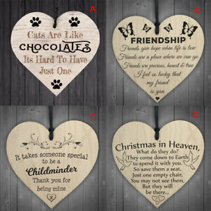 heart shape handmade wooden hanging plaque sign quote gift for christmas deco`AU