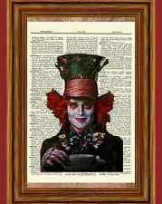 Johnny Depp Mad Hatter Dictionary Art Print Alice in Wonderland Picture Poster