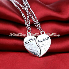 2PC/Set Heart Charm Mother Daughter Gift Women Chain Pendant Necklace Hot Party