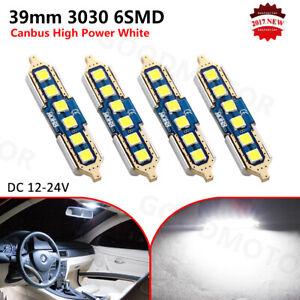 4x 39mm 40mm Festoon LED Canbus 6SMD White 6000K Car Interior Dome Light Bulb