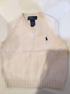 RALPH LAUREN BOYS Ivory/Cream 100% Cotton V NECK SWEATER VEST SIZE 4 EUC