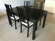 IKEA Brown-Black Extendable Dining Table with Four Dining Chairs