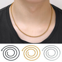 Men Women Punk Fashion Stainless Steel Flat Thick Single Chain Necklace Jewelry
