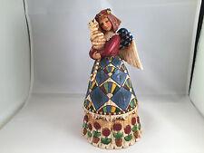 Jim shore stone resin heartwood creek angel holding cat figurine 105170