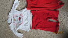 2 Hosen Rot Gr.62+74+Swetshirt Langarm Hello Kitty Gr. 62 weiß