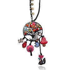 Lol bijoux - Collier corbeau & renard - Perles multicolores - Oiseau gris -Arbre