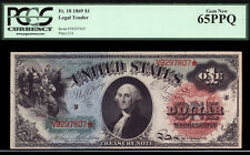 $1 1869 Legal Tender FR 18 PCGS 65 PPQ VIBRANT AND COLORFUL RAINBOW NOTE