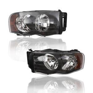 Pair Performance Headlights Headlamps w/ Black Bezel for 02-05 Dodge Ram Pickup