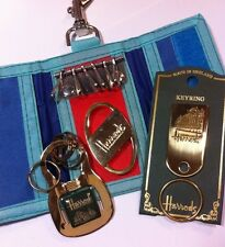 Lot of 4 Harrods Knightsbridge London Keyring Keychain Tri-Fold Key Holder