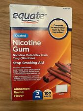 Equate Nicotine Gum Cinnamon Rush Flavor 100 pieces 2 mg coated EXP 08/21