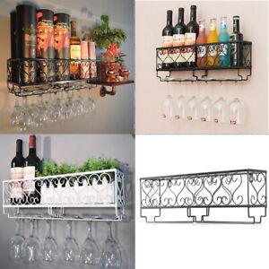 Wall Mounted Metal Wine Glass Rack Drink Bottle Holder Bar Storage Display Shelf