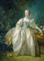 Dream-art Oil painting francois boucher noblelady seated in landscape & rose 36""
