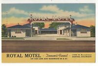 Royal Motel on Car Line, Broadway DENVER CO - Vintage Colorado Linen Postcard