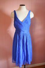 JCrew Heidi Dress in Silk Chiffon Size 12 Casablanca Blue Cocktail Short