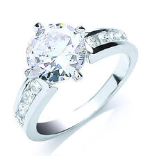 Solitaire Engagement Ring Sterling Silver Fancy Solitaire Ring Rhodium Plated