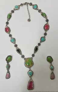 Signed Barse Sterling Silver Multi Colored Turquoise Onyx Agate Jewelry Set