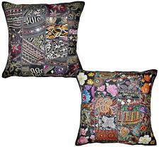 2pc Black Patchwork Vintage Pillow black Throw Pillow Accent PIllow Toss pillows