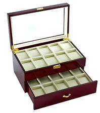 Diplomat 20 Watch Case Cherry Finish Display with Soft Cream Leather 31-57714