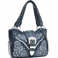 New Women Leather Satchel Tote Shoulder Bag Handbag Day Purse w/ Stud Rhinestone