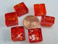 6 perles CARRE 12mm Rouge Orange VERRE facon MURANO feuille argenté bijoux