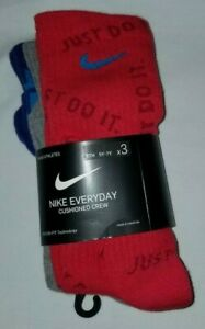 NIKE EVERYDAY CUSHIONED CREW SOCKS 3 PACK YOUTH 5Y-7Y SX7070-910 PURPLE GRAY RED