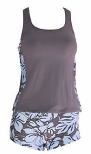 XL Extra Large Private Island Swimsuit Tankini Swim Wear Tank Top Gray / Blue