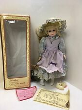 "Vintage Brinn's February Porcelain Girl Doll 11.5"" Blond Hair Blue Eyes 1988"