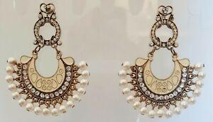 New Monsoon Diamanté & Seed Pearl Fan Drop, Chambali Style Earrings