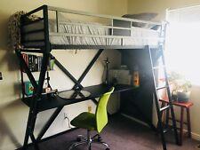 Dinsmore Twin/ Desk Loft Bed: excellent condition, black metal, attached shelves