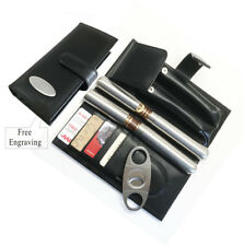 Personalized Engraved Cigar Case ,Cigar cutter,Cigar tube-Christmas gift-Black