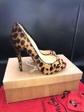 Christian Louboutin Lady Claude 120 Pony Leopard Peep Toe Heels Uk 6.5 Eu 39.5