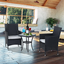 Garden Sofa Set Rattan Metal Black 3pcs In/Outdoor Patio Furniture Chairs Table