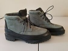 FUBU Top Quality GREEN Suede Black Leather Hiking Boots 8 RARE