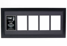 5 Opening Glass Face 10x24 Black Picture Frame Holds 4x6 Media Black Collage Mat