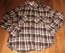 GIRLS PINK ANGEL BUTTON UP FLANNEL SHIRT~COLORFUL STUDDED PEACE SIGN~SZ M 5/6~EC