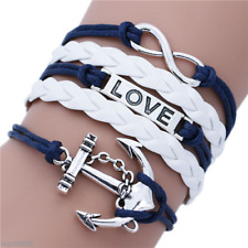 Silver Anchor Love Leather Infinity Bracelets & Bangles for Girls Jewelry #SL949
