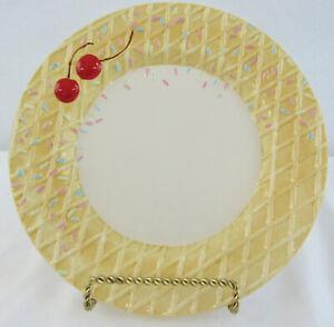 Oneida Kitchen Hand Painted Ice Cream Waffle Cone Sprinkles Cherry Dessert Plate